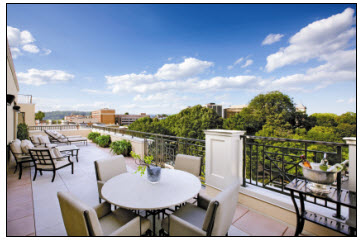 The Penthouse terraces at 40 Park feature spectacular views of historic downtown Morristown.
