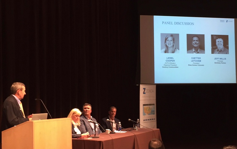 Builder panelists at recent Meyers Research housing forecast event in Denver