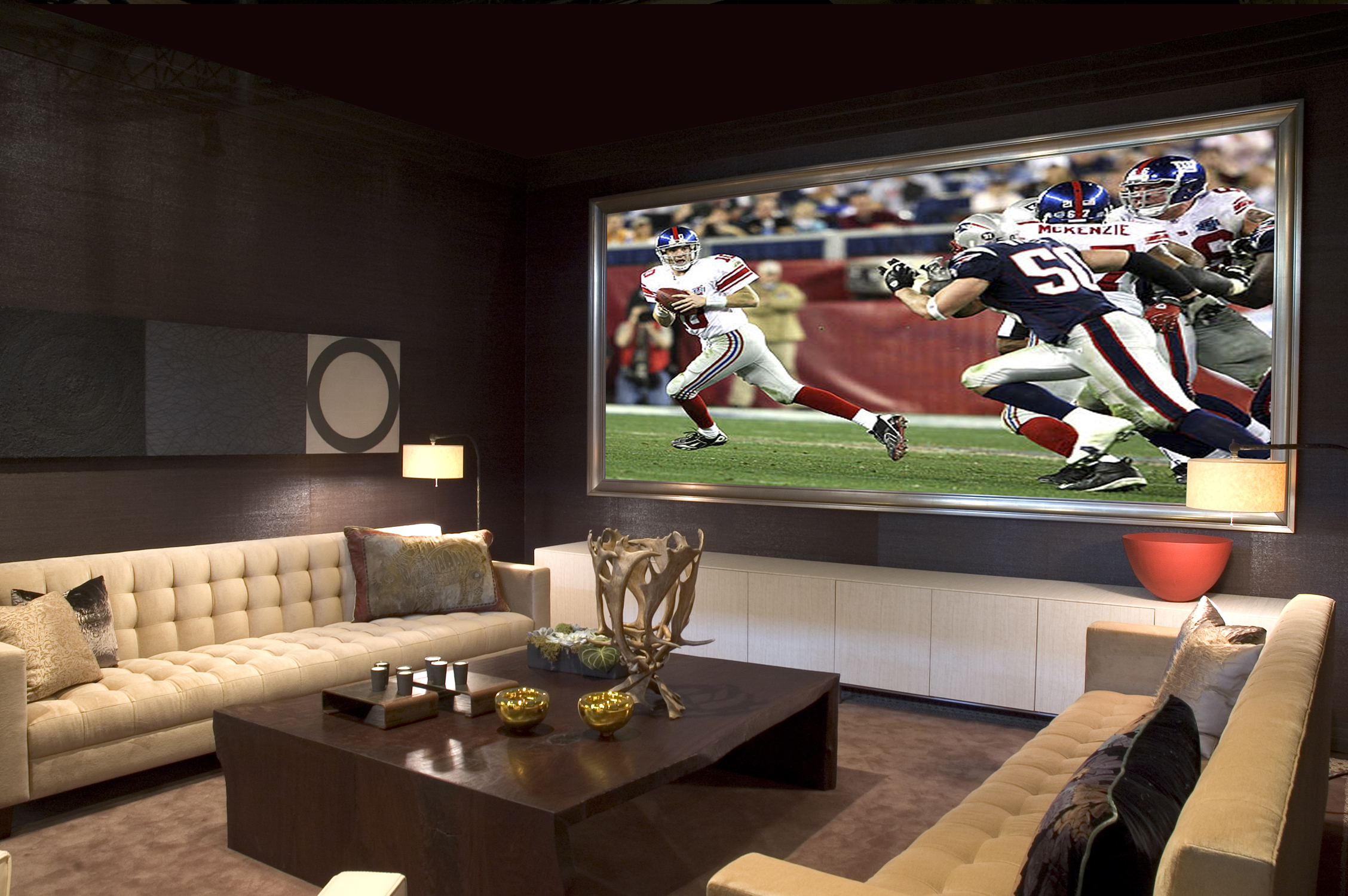 Integrisys the tech quarterback super bowl parties bring pro sports excitement into the home - Living room home theater ...